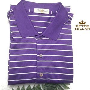 Peter Millar Polo Large Purple White Stripes